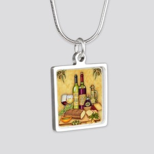 Wine Best Seller Silver Square Necklace
