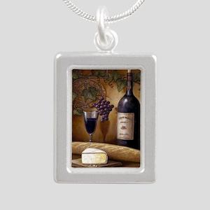 Wine Best Seller Silver Portrait Necklace