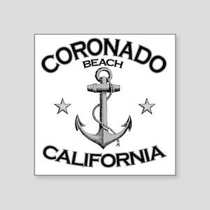 """CORONADO BEACH CALIFORNIA c Square Sticker 3"""" x 3"""""""