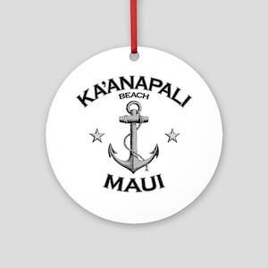 KAANAPALI BEACH MAUI copy Round Ornament