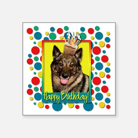 """BirthdayCupcakeVallhundCP Square Sticker 3"""" x 3"""""""