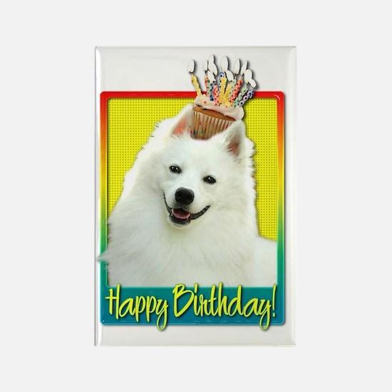 BirthdayCupcakeAmericanEskimoHB Rectangle Magnet