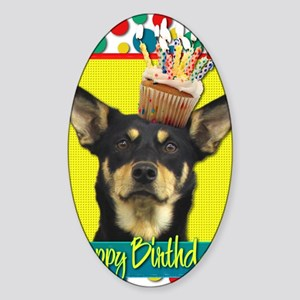 BirthdayCupcakeAustralianKelpieJude Sticker (Oval)