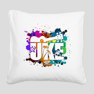 UKE Color Splash Square Canvas Pillow