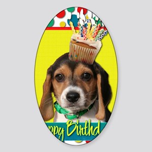 BirthdayCupcakeBeaglePuppy Sticker (Oval)