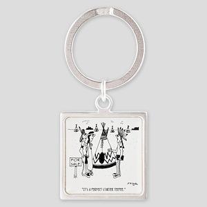 4147_house_cartoon Square Keychain