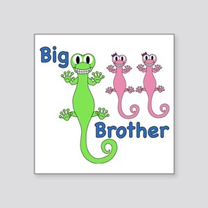 """Big Brother of Twin Girls Square Sticker 3"""" x 3"""""""