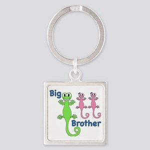 Big Brother of Twin Girls Square Keychain
