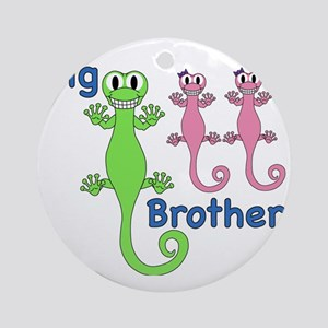 Big Brother of Twin Girls Round Ornament