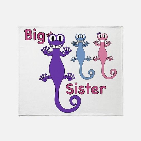 Big Sister of Boy/Girl Twins Throw Blanket