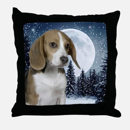 BeagleWinterMousepad Throw Pillow