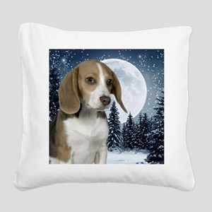BeagleWinterMousepad Square Canvas Pillow