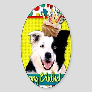 BirthdayCupcakeBorderCollie Sticker (Oval)