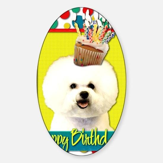 BirthdayCupcakeBichonFrise Sticker (Oval)