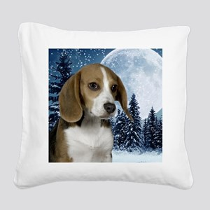 BeagleWinteriPad Square Canvas Pillow