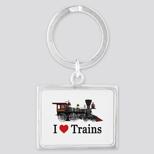 I LOVE TRAINS_SM_copy Landscape Keychain