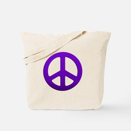 Purple Fade Peace Sign Tote Bag