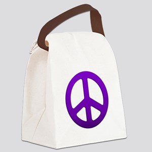 Purple Fade Peace Sign Canvas Lunch Bag