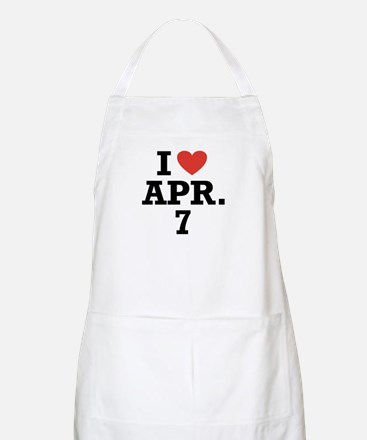I Heart April 7 BBQ Apron