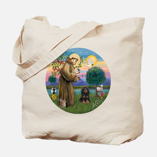 R-StFrancis-W-Black-tanCocker Tote Bag