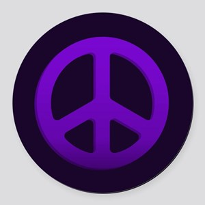Purple Fade Peace Sign Round Car Magnet