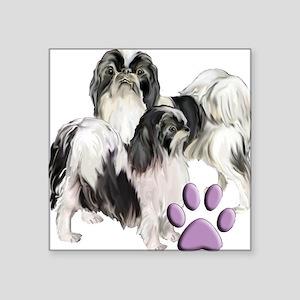 "japanese chin pink pawprint Square Sticker 3"" x 3"""