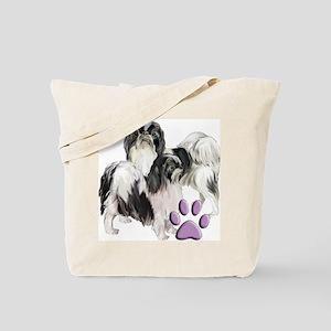 japanese chin pink pawprint Tote Bag