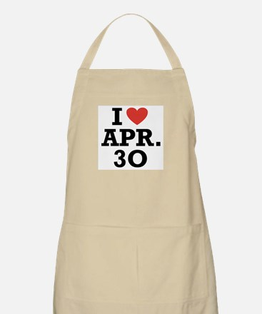 I Heart April 30 BBQ Apron