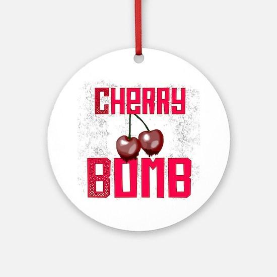 Cherry Bomb Round Ornament