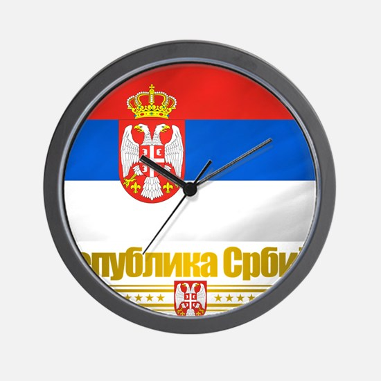 Serbia (Flag 10) Wall Clock
