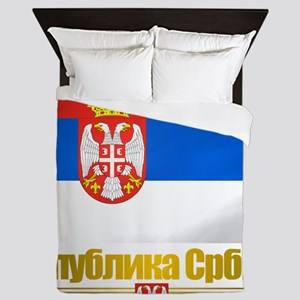 Serbia (Flag 10) Queen Duvet