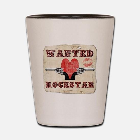 wanted_rockstar Shot Glass