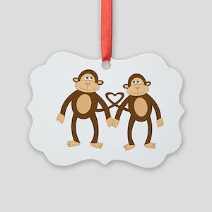 valentine monkeys Picture Ornament