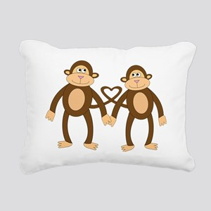 valentine monkeys Rectangular Canvas Pillow