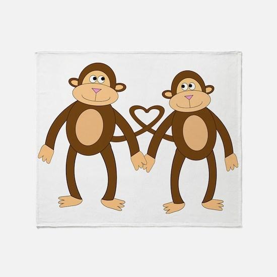 valentine monkeys Throw Blanket