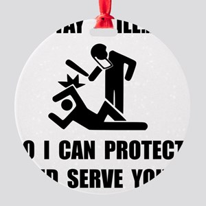 Protect Serve Black Round Ornament