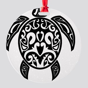 Sea Turtle Black Round Ornament