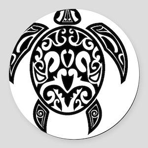Sea Turtle Black Round Car Magnet