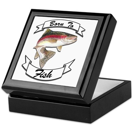 born to fish trout dark Keepsake Box