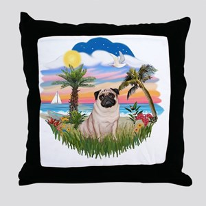 Palms - Fawn Pug 17 Throw Pillow