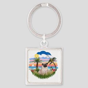 Palms - Fawn Pug 17 Square Keychain