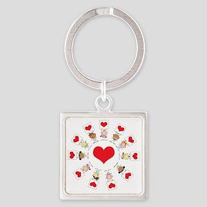 hearts around the w... Square Keychain