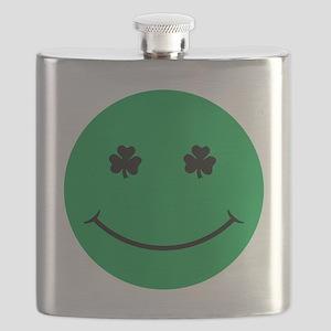 Shamrock eye smiley Flask