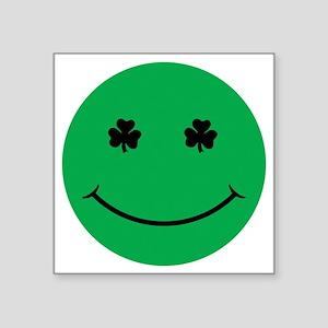 """Shamrock eye smiley Square Sticker 3"""" x 3"""""""