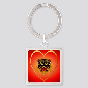 Heart Jewel Black n Gold Chinese D Square Keychain