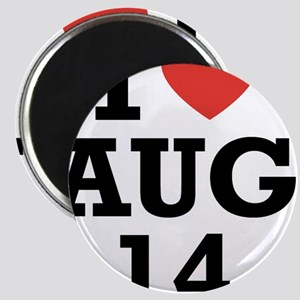 I Heart August 14 Magnet