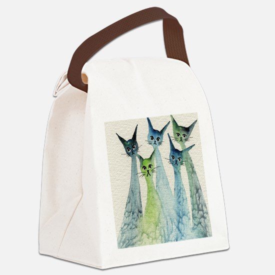 blue green lakeland Canvas Lunch Bag