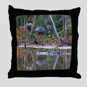 Great Blue Heron and Gator Throw Pillow