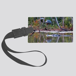 Great Blue Heron and Gator Large Luggage Tag