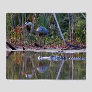 Great Blue Heron and Gator Throw Blanket
